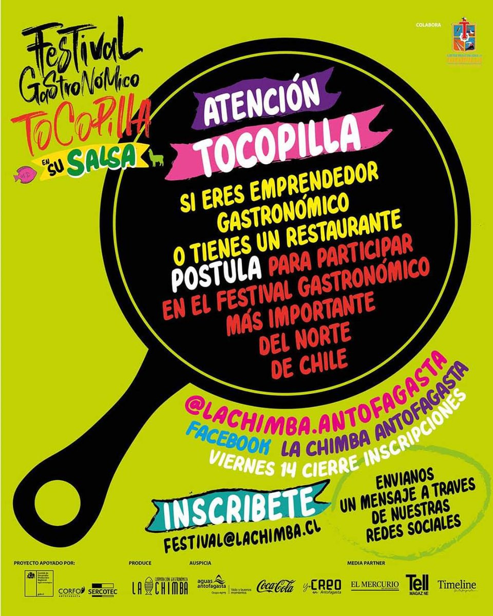 Atención #Tocopilla!!! El 28 de febrero se realizará la primera versión de nuestro festival gastronómico participa!!! @munitocopilla @aguas_antof @jimepereyra @creoantofagasta @cocacola_cl @mercurioafta @tellmagazine @timeline_cl @corfochile @sercotec_cl @lachimba.antofagasta https://t.co/FJ2g1QRUdy