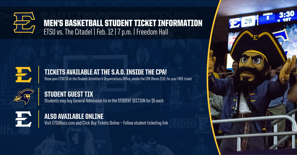 .@ETSU students, make sure to pick up your free ticket to our next two home games (this Wednesday vs. Citadel) and next Wednesday (vs. Furman) inside the S.A.O Office (Room 213 of CPA)  You can also reserve your ticket online here: https://tinyurl.com/hbz8s27   #FillFreedom #ETSUTough