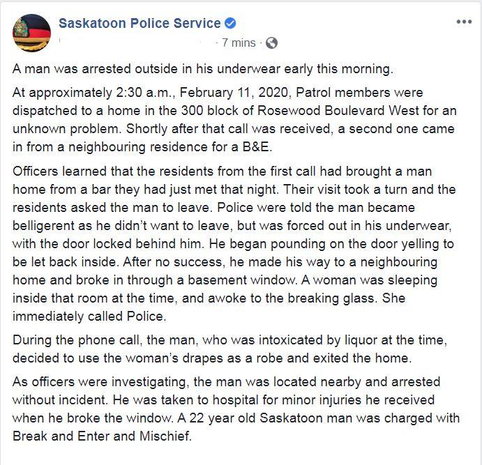 Saskatoon Police (@SaskatoonPolice) on Twitter photo 2020-02-11 16:56:36