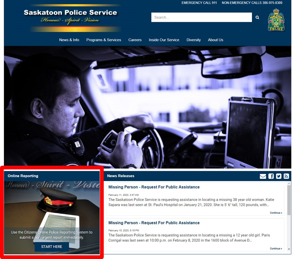 You asked and we listened! Weve switched up our website to make it easier and more convenient for you to find our online reporting tool. For the list of reports we accept online, visit saskatoonpolice.ca/onlinereporting #yxe