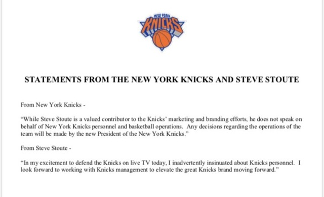 The Knicks issue their first Steve Stoute-related statement after today's interview on @FirstTake ...