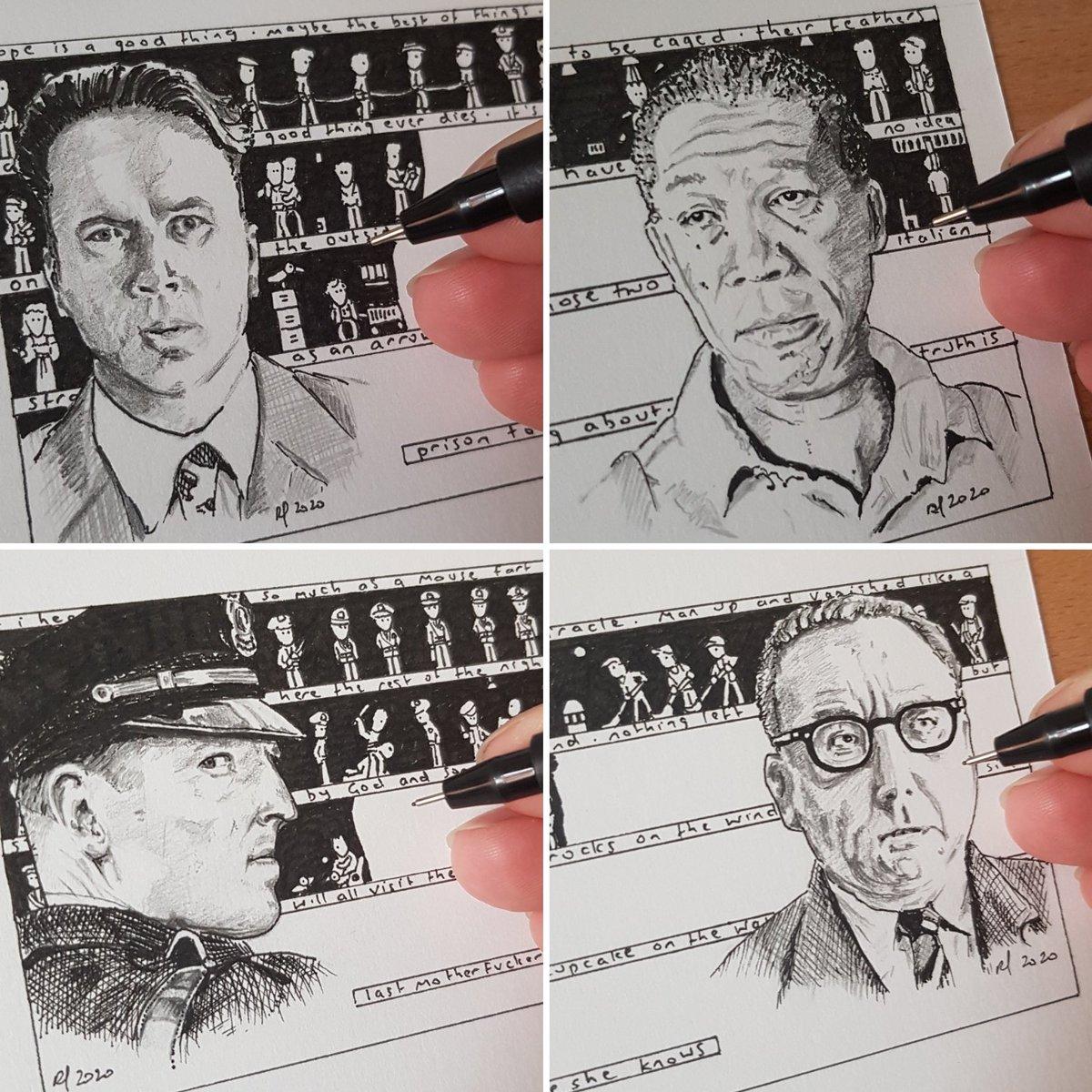 Drawing #theshawshankredemption #shawshank #shawshankredemption #andydufresne #clancybrown #bobgunton #morganfreeman #inktoberpic.twitter.com/WK0x3QbrkU