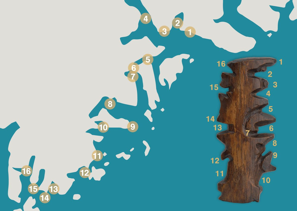 Image compares the carved wooden map from Greenland with the locations on a modern map. Source: https://t.co/QKc0Ufklhz https://t.co/mN2Fij5zpq