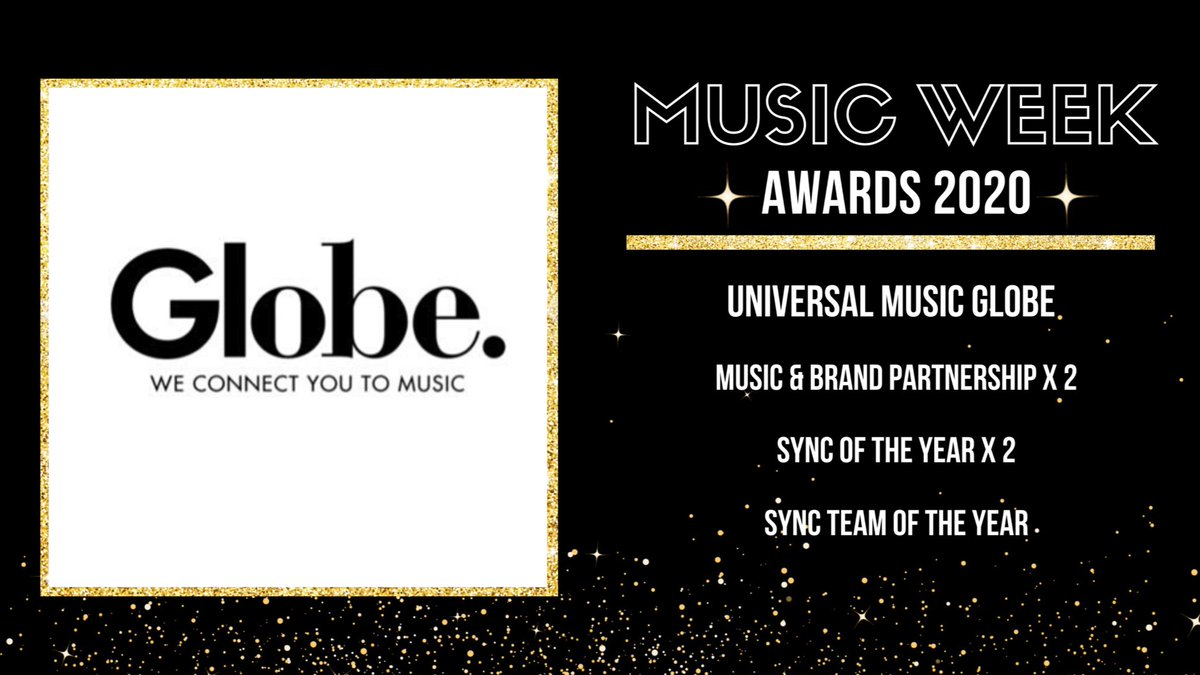 Round of applause for @UMusicGlobeUK for their @MusicWeek nominations💥  🏆Music & Brand Partnership 🏆Sync of the Year 🏆Sync Team of the Year   More ↳ https://t.co/cIzon8ANHo #MusicWeekAwards https://t.co/MaBgqEFWcB