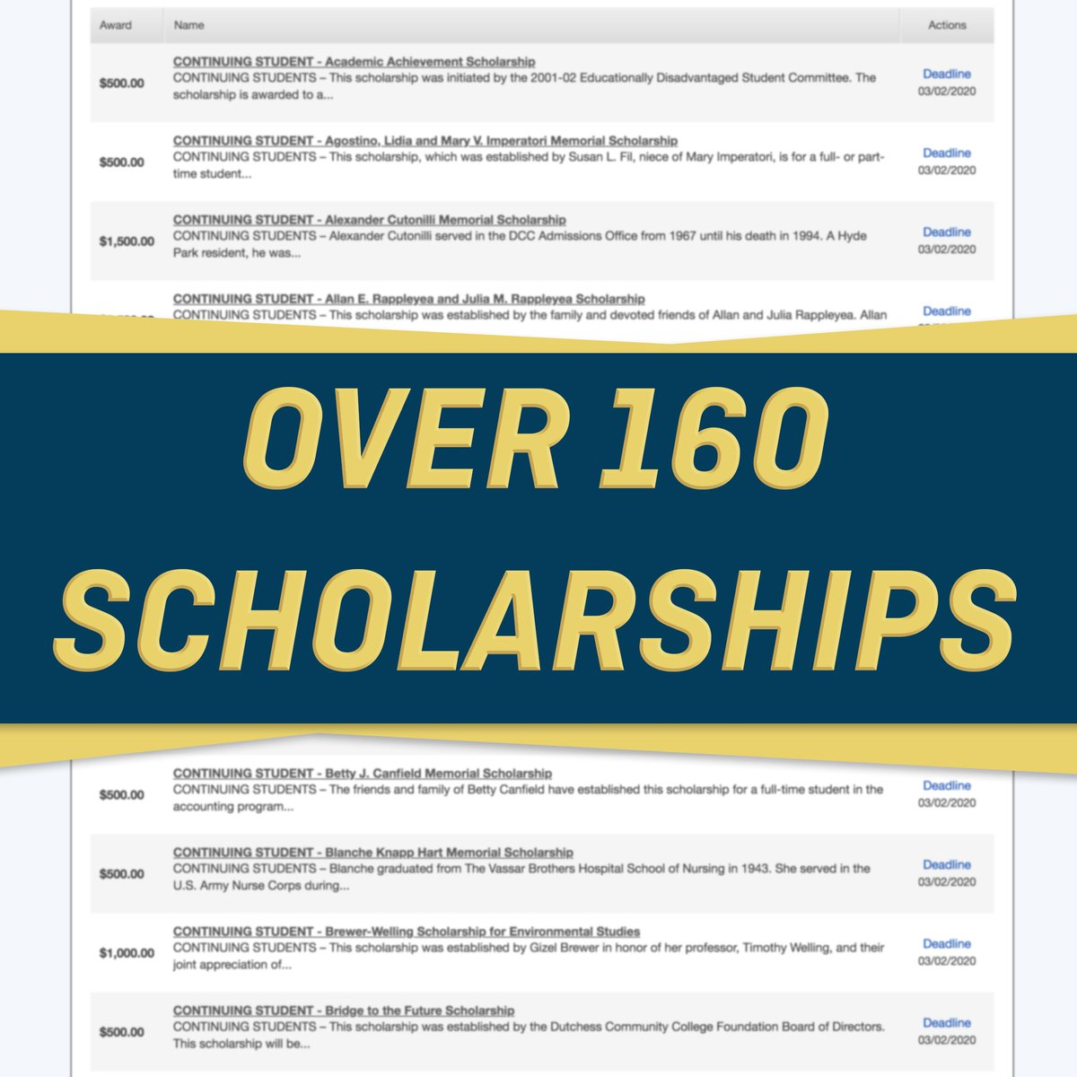 Just a reminder that there are over 160 scholarships available with a March 2 deadline! Visit http://www.sunydutchess.edu/scholarships/ to learn more and see what you might be eligible for.