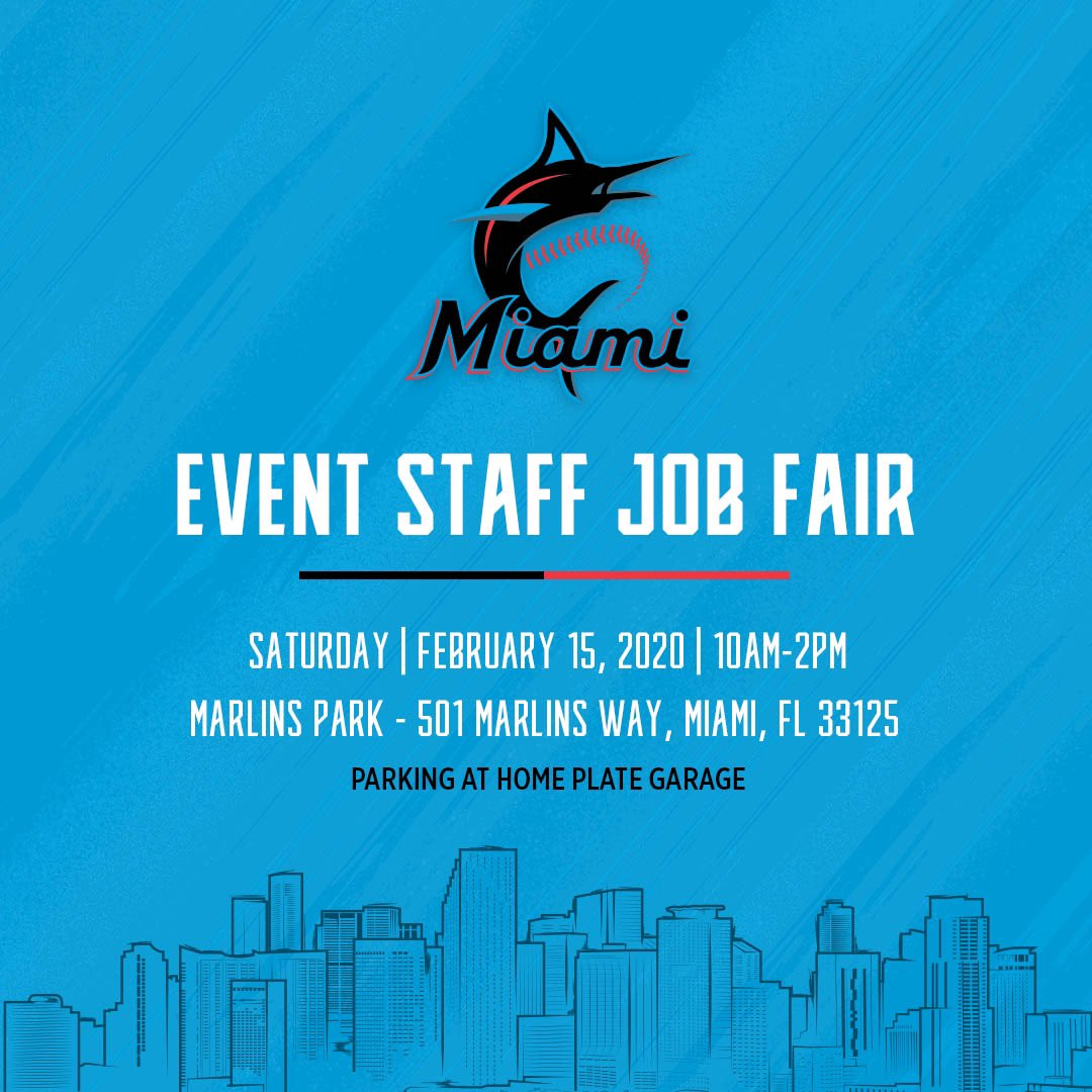 The Miami @Marlins are now hiring gameday staff for the 2020 season during the upcoming Job Fair! For additional information visit marlins.com/jobs