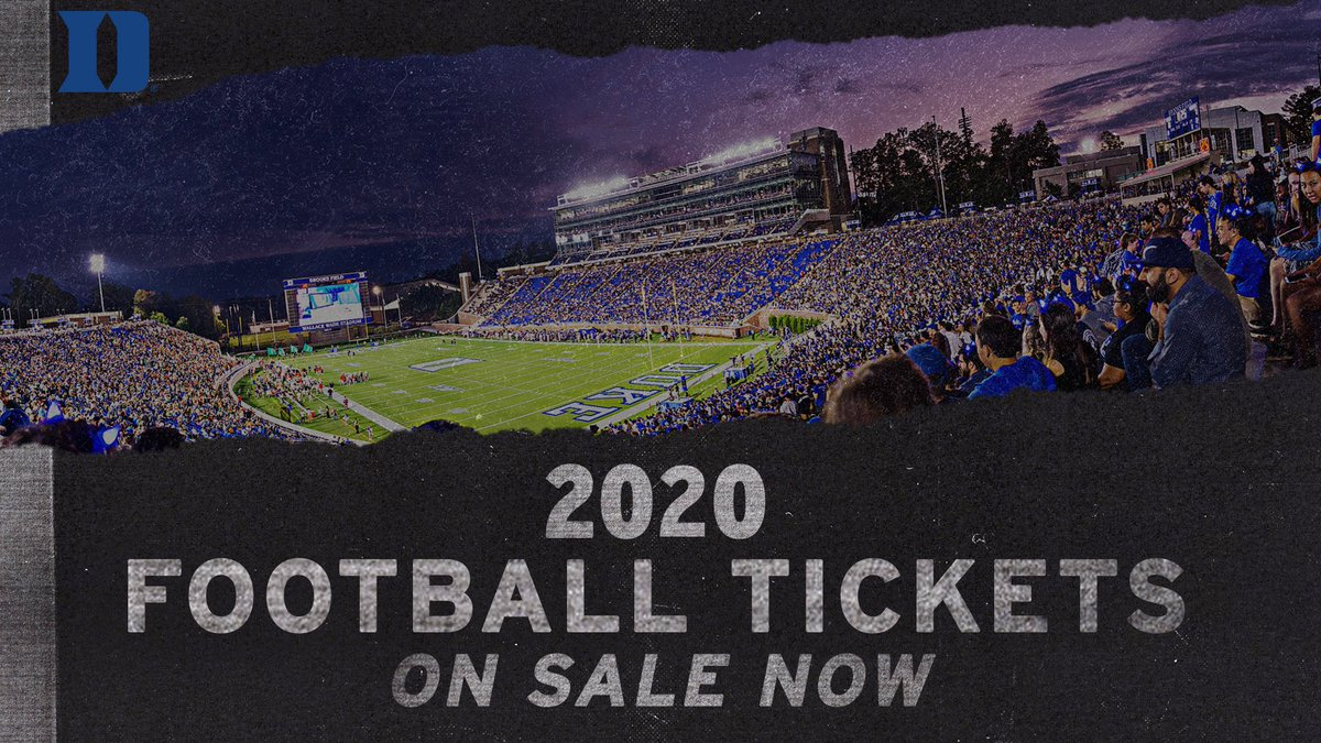 🚨 2020 TICKETS ON SALE 🚨  Get your tickets for the upcoming 🔵😈🏈 season now and don't miss out on the action at Wallace Wade!  🎟 |   #GoDuke
