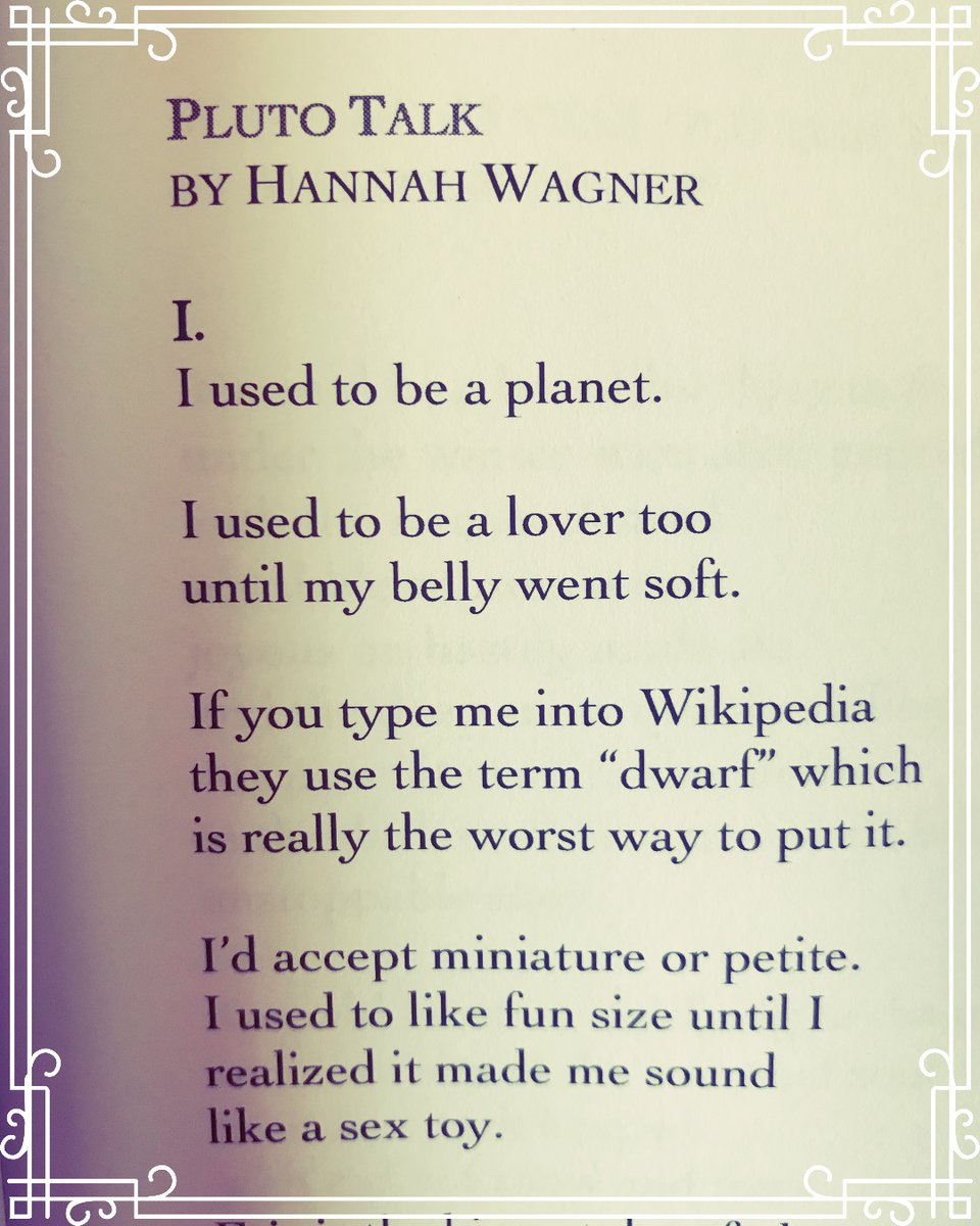 A snippet from Hannah Wagner's poem, Pluto Talk. Read the full piece in our Winter 2020 issue. http://gyroscopereview.com #poetrysnippets #poetryisalive pic.twitter.com/yNZP5WDEVO
