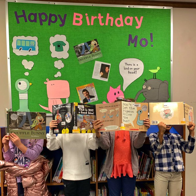 Mrs. Stricklin and our students sure love Children s author Mo Willems Happy Birthday!