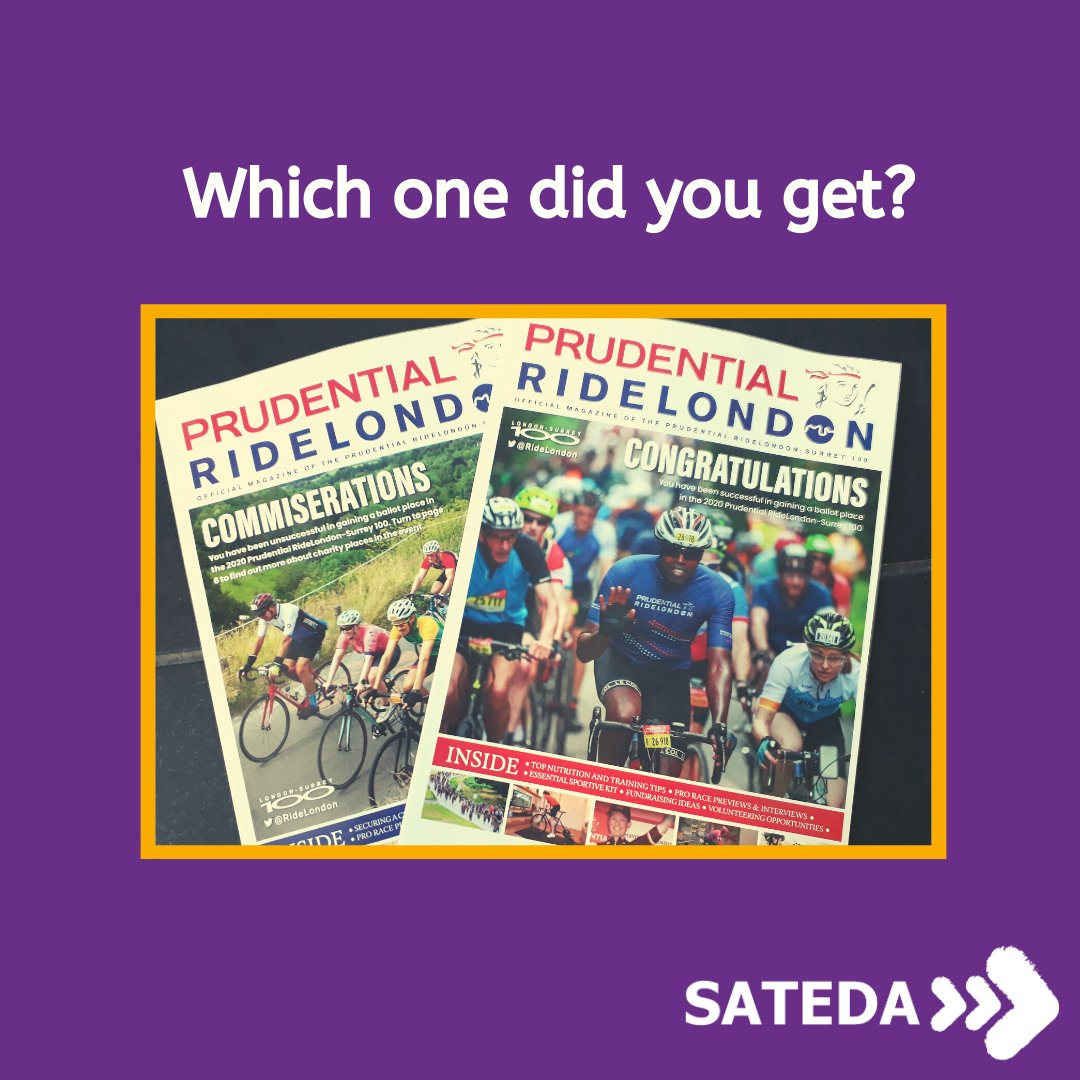 If you're still looking for a place at @RideLondon get in touch to find our how you can be our charity rider for 2020.  email: admin@sateda.org  #100miles #cycling #challenge #RideLondon
