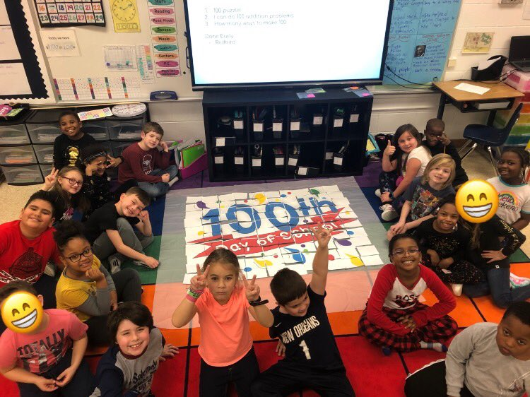 Did 100 addition problems to celebrate the 100th day of school! @vbschools #100thdayofschool