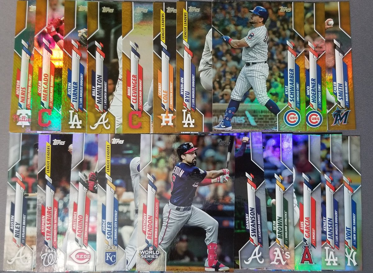 2 Jumbo boxes of 2020 Topps  Gold and Silver foils Gold /2020 and Black /299 Advanced Stat /300, Wagner and Thomas SPs, autos, Memorabilia  Inserts  If you are looking for anything in particular let me know.  #boxbreak #TradingCards #MLB #baseballcardspic.twitter.com/xkdAn1S8tZ
