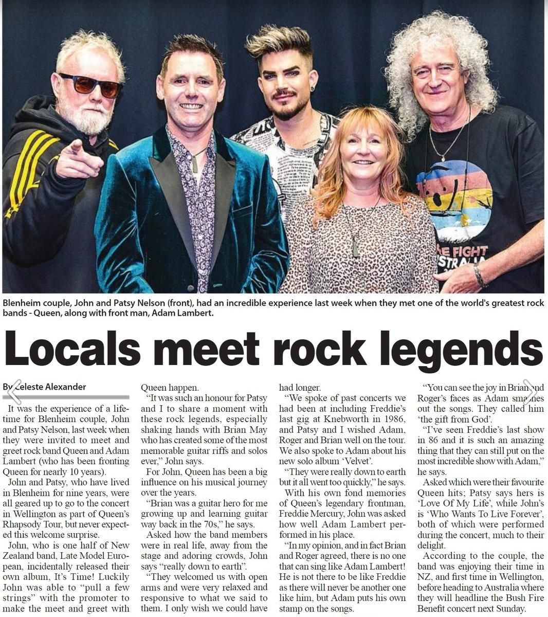 My article in today's #blenheim #sun newspaper after meeting @DrBrianMay @OfficialRMT @adamlambert @QueenWillRock last week in @Wellington_NZ @skystadium