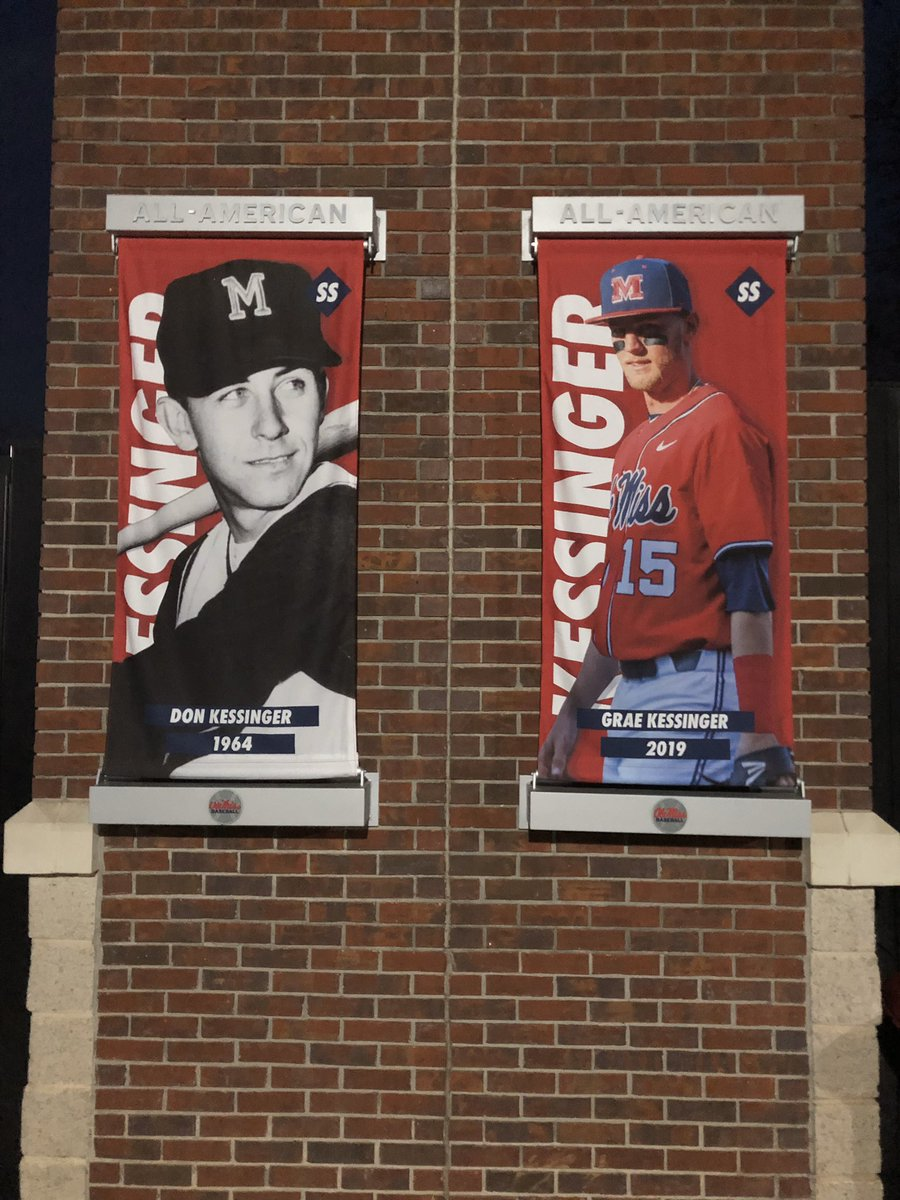 My All-American poster at Swayze field hanging right next to my grandfathers 55 years later. Can't describe how special this is to me!@OleMissBSB <br>http://pic.twitter.com/61pf83XisY