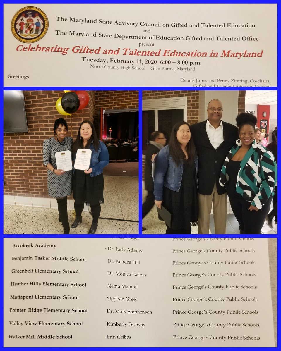Tonight we recived our Excellance in Gifted Education (EGATE) Award. As well as Ms. Gaujean and Ms. Park were recognized as outstanding Educators in Gifted and Talented Education -Teacher Leaders. @678Tag @PGCPSTAG #PGCPSProud  #proudprincipal