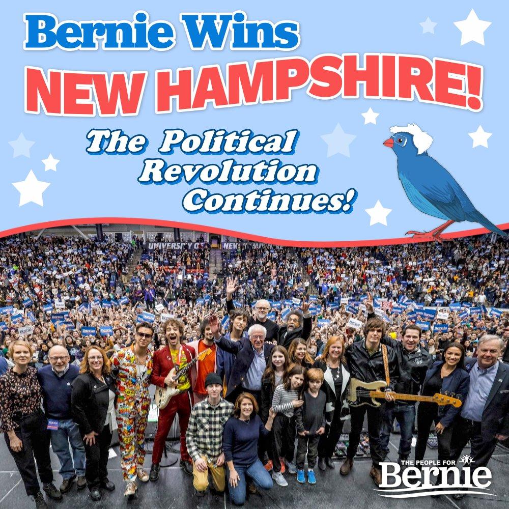 BREAKING: @BernieSanders is the projected winner of the New Hampshire Primary!   #BernieWonNH #NotMeUs https://t.co/TtlwXxdWqX