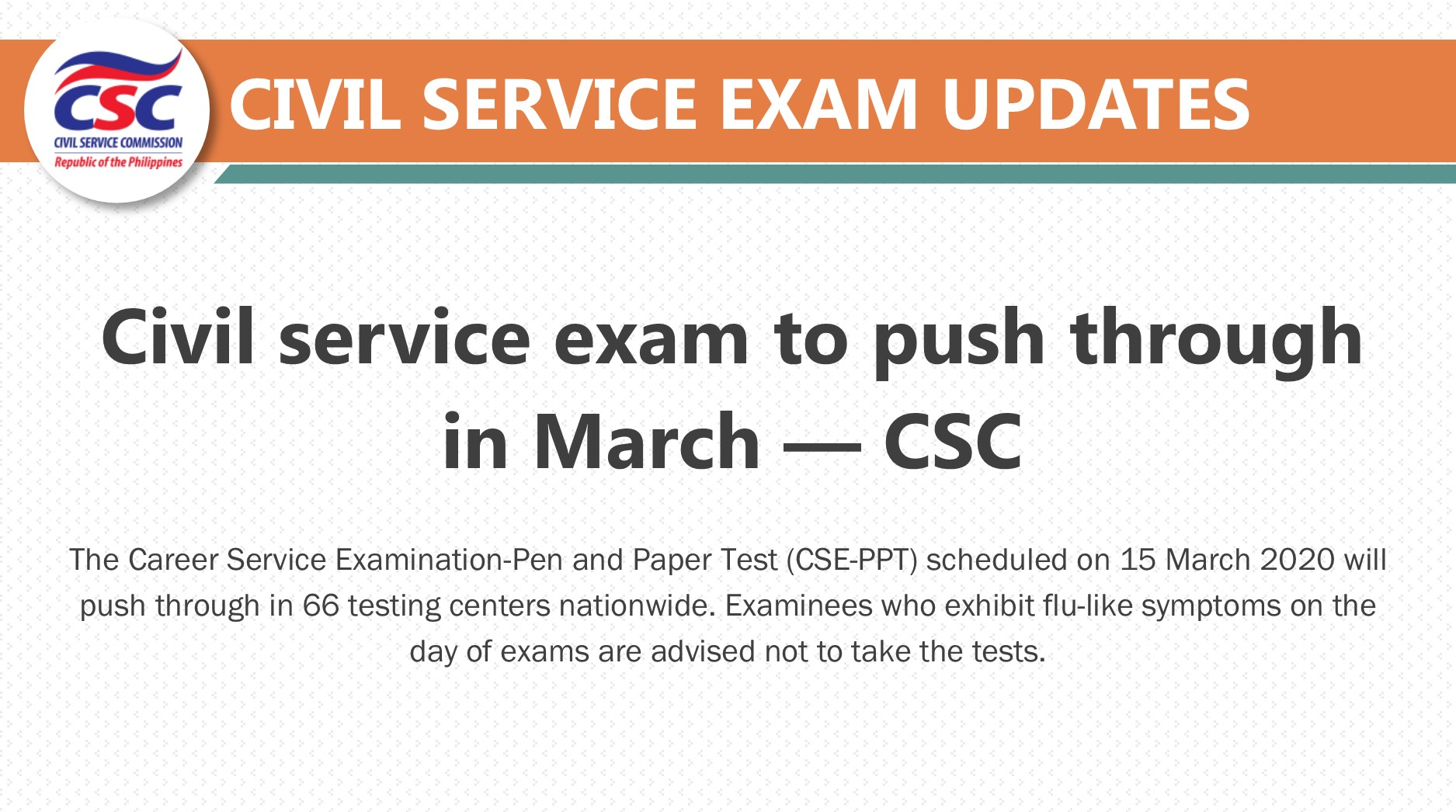 Philippine Civil Service Commission On Twitter Read The Csc Announced That The 15 March 2020 Civil Service Exam Will Push Through As Scheduled But Advised Examinees Not To Take The Test If