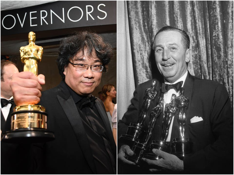 DID YOU KNOW that when #BongJoonHo won his 4 OSCARS for #PARASITE, he tied with none other than WALT DISNEY for the most Oscars won in one night by a single person!! #BongHivepic.twitter.com/khF5IhElak