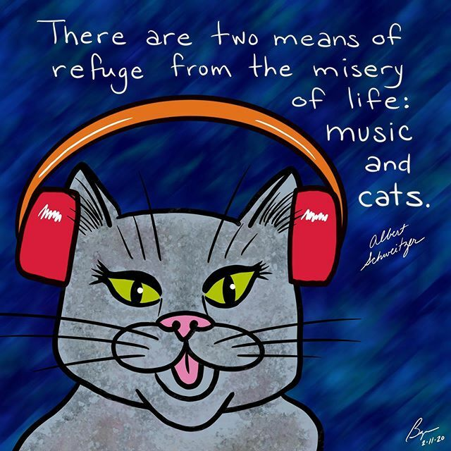 """There are two means of refuge from the misery of life—music and cats."" (Albert Schweitzer)  #cats #catsofinstagram #cat #music #albertschweitzer  #notice #illustration #visualart #visualverbal #art #artoftheday #quotes #everydayquotes #words #wordsofwis… https://ift.tt/2UKnkpF pic.twitter.com/kVtLEpBK82"