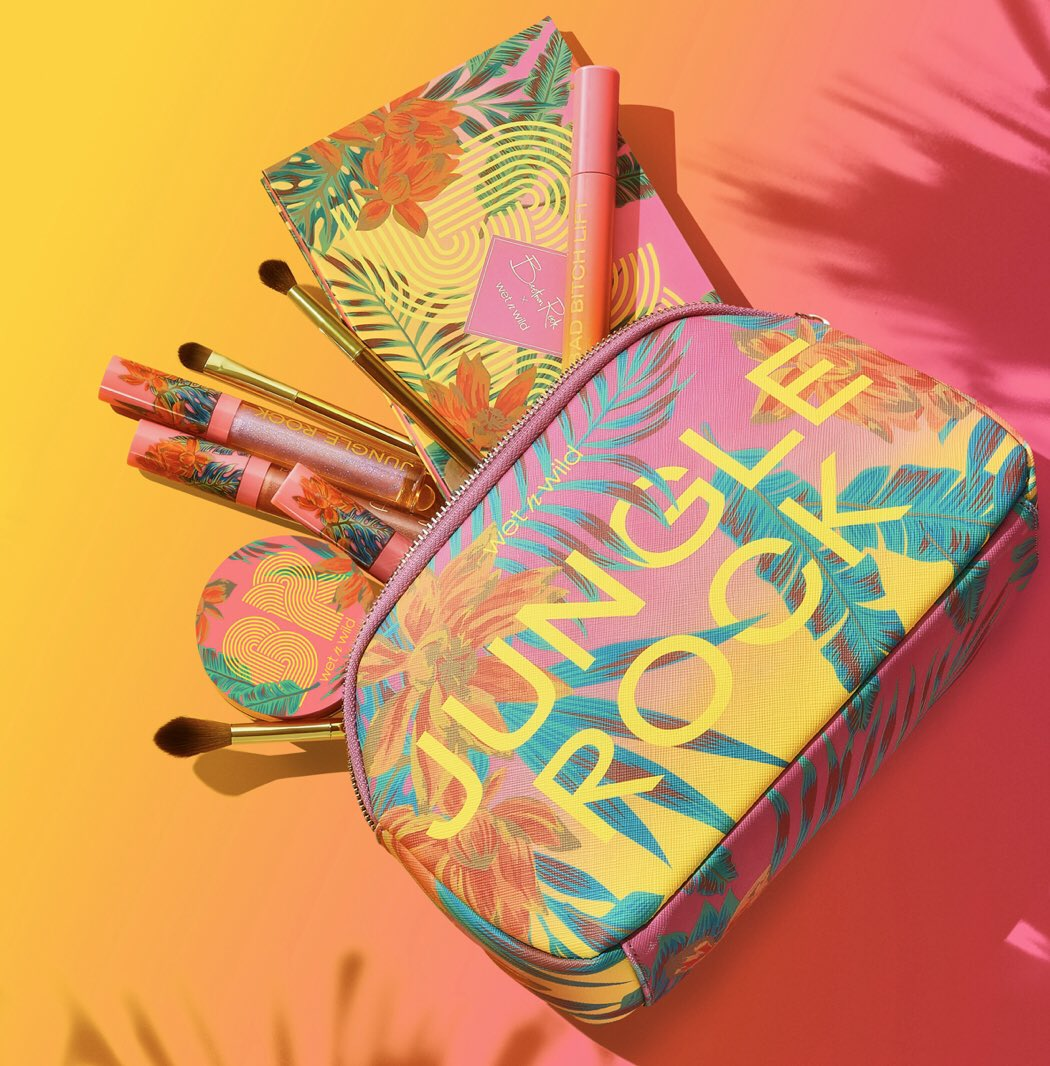 """We are THRILLED to announce the @bretmanrock x wet n wild """"Jungle Rock"""" Collection. Featuring a shadow palette, MASCARA, a brush set trio, three lip glosses, a loose highlighter duo, a 3-in-1 face mist, and a limited-edition makeup bag. #JUNGLEROCK More details to come…"""
