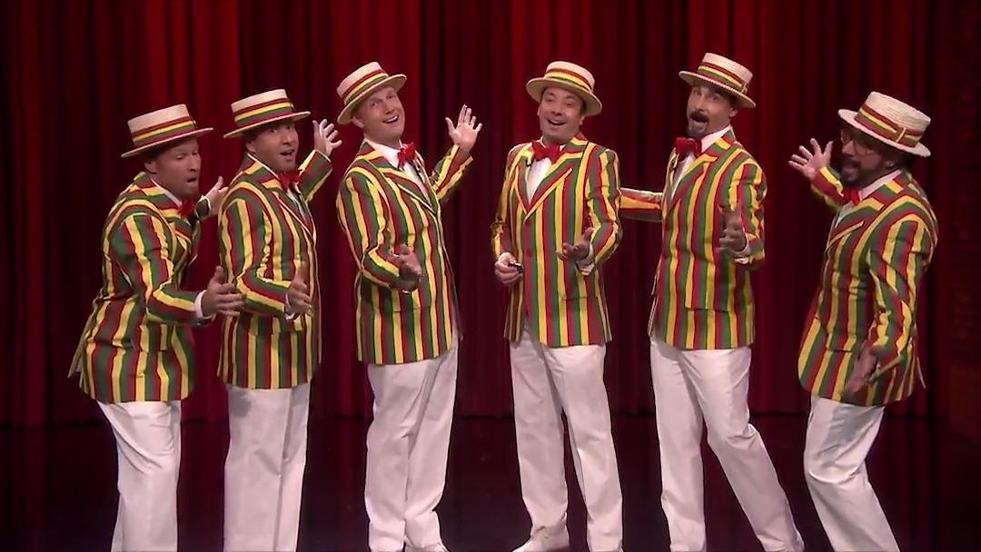 "The Ragtime Gals (Jimmy & @backstreetboys) perform ""Thong Song"" 🎶💈 #FallonTonight"