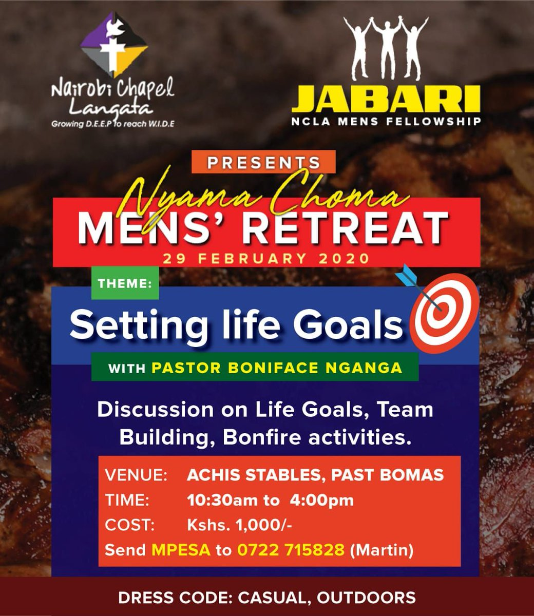 #Jabari which is the #MensMinistry at #NairobiChapelLangata invites all men to a #MensRetreat.   Hii sio #MensConference   #YearOfGraceExperience #NCLApic.twitter.com/SfNX3OwvWW