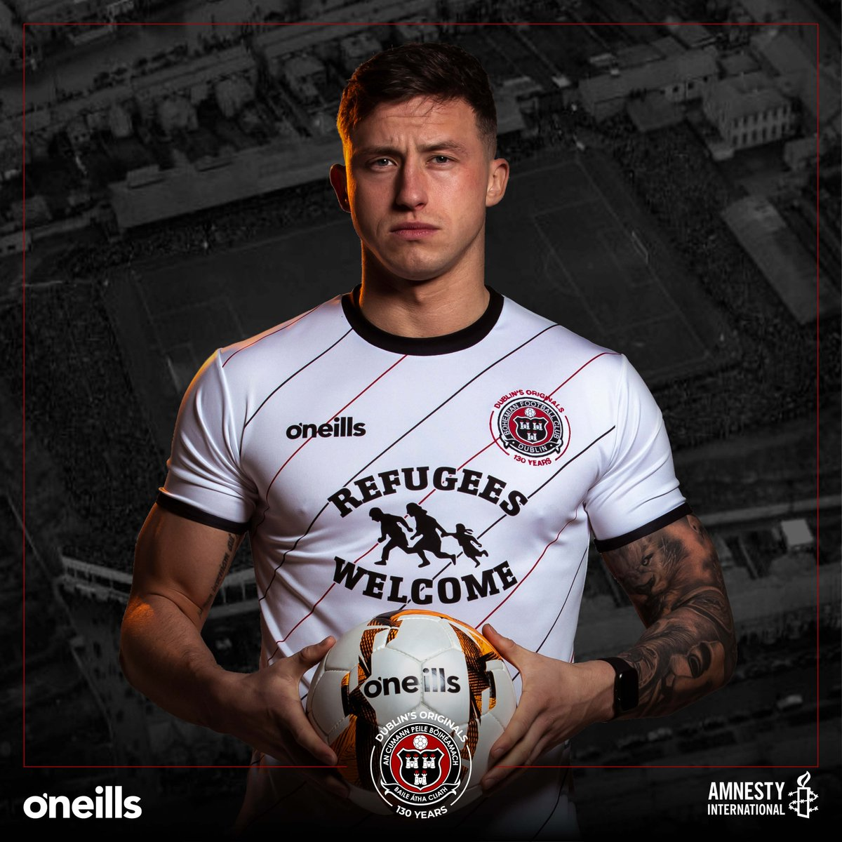 ❤️It is with great delight that the Bohemian Football Club, made possible by @DesKellyIE, unveil our 2020 @ONeills1918 away jersey, a partnership with @AmnestyIreland   Full launch at 11am   Available now at