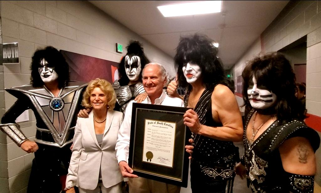Governor @henrymcmaster officially declared February 11, 2020 as #KISS Day in South Carolina. The Governor presented the proclamation to the band backstage at @CLAmktg before the show.