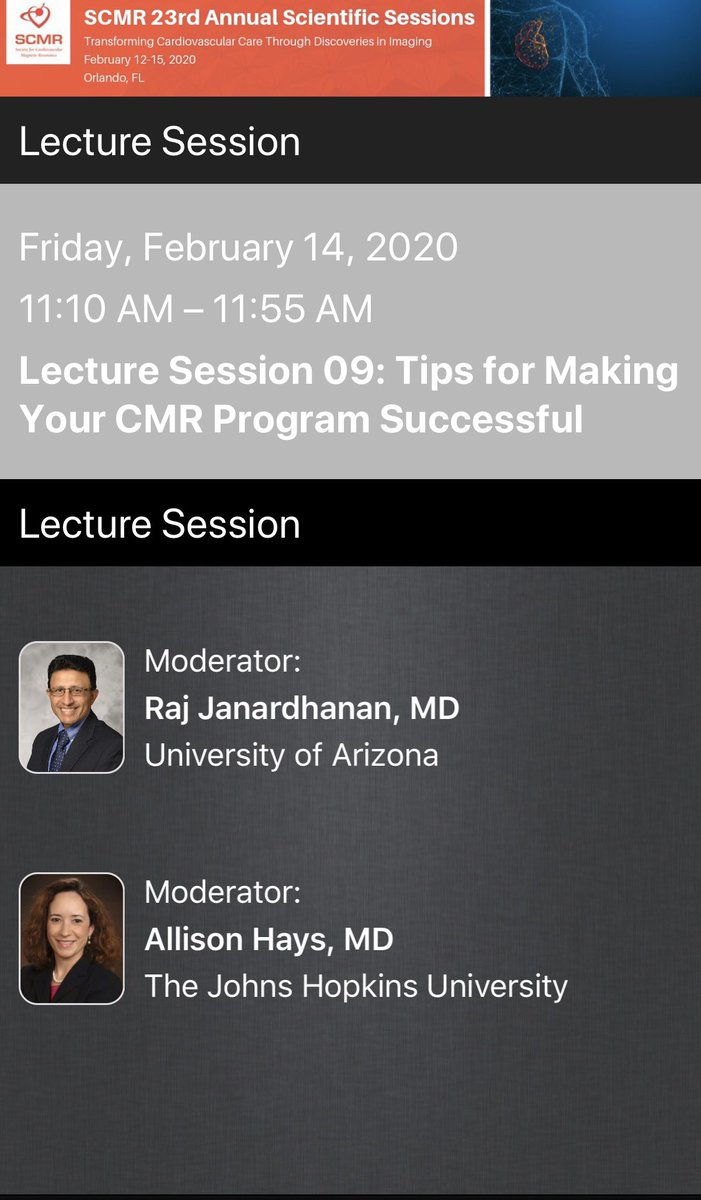 Join us on Friday to discuss Tips for Making your CMR program successful. @AllisonGHaysMD #SCMR2020 @SCMRorg