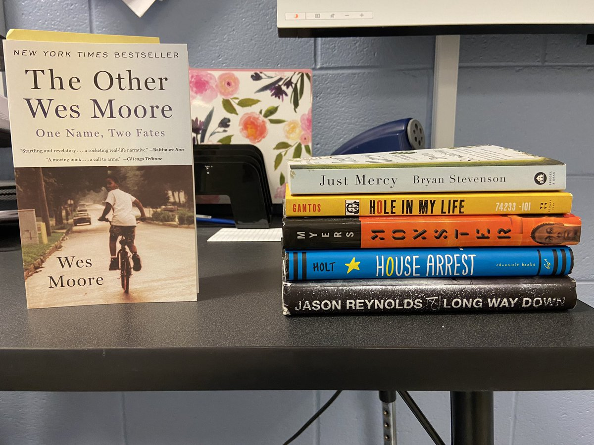 So excited to start The Other Wes Moore and these book club books with my juniors next week! Using these to talk about the American Dream and how it attainable it is for those affected by crime and incarceration. #readingsharks https://t.co/r6k0QuhXjb