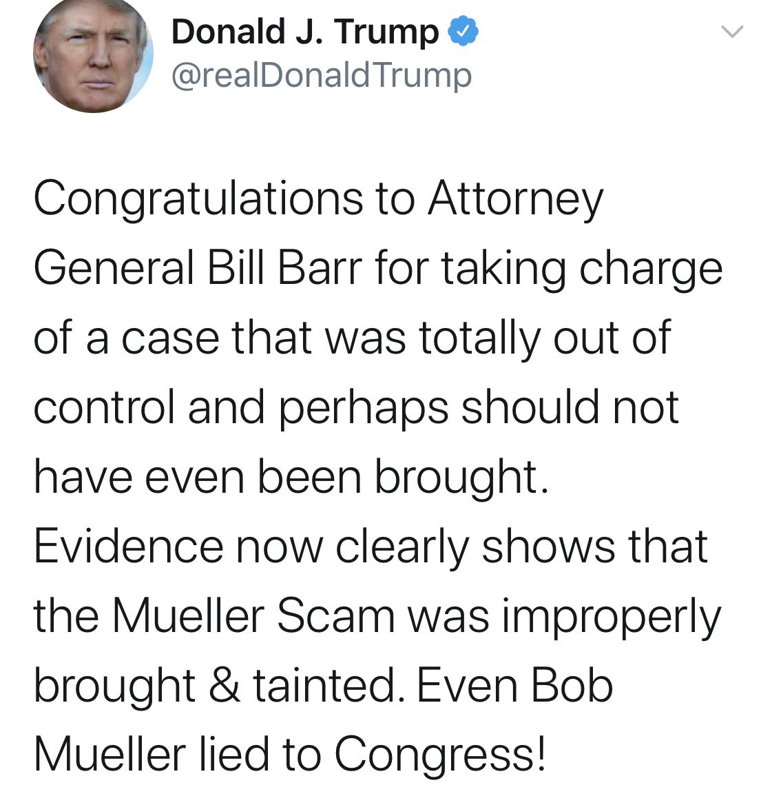 Just in case there was any sliver of doubt that Barr was doing what Trump wanted - there's a tweet.