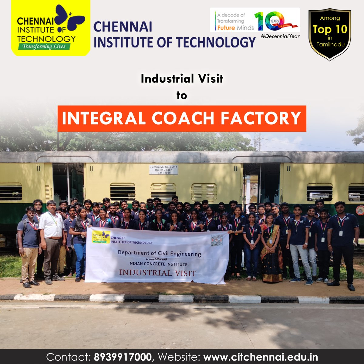 Industrial Visit to Integral Coach Factory organised for Third Year Students by Department of Civil Engineering on 11th Feb, 2020  #IndustryConnectedInstitute #IndustrialVisit #ChennaiInstituteofTechnology #CITChennai #TransformingLives #Engineering #enjoyableCampusLifepic.twitter.com/AcDE0BBMrP
