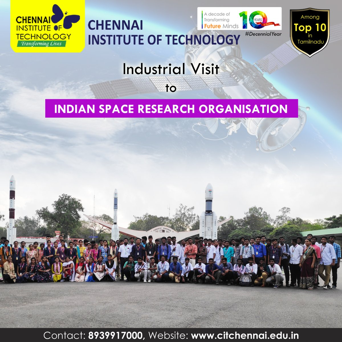 Industrial Visit to Indian Space Research Organisation organised for Second Year Students by Department of Electronics and Communication Engineering on 12th Feb, 2020  #IndustryConnectedInstitute #IndustrialVisit #ChennaiInstituteofTechnology #CITChennai #TransformingLives #ISROpic.twitter.com/5JCw5H0e9h