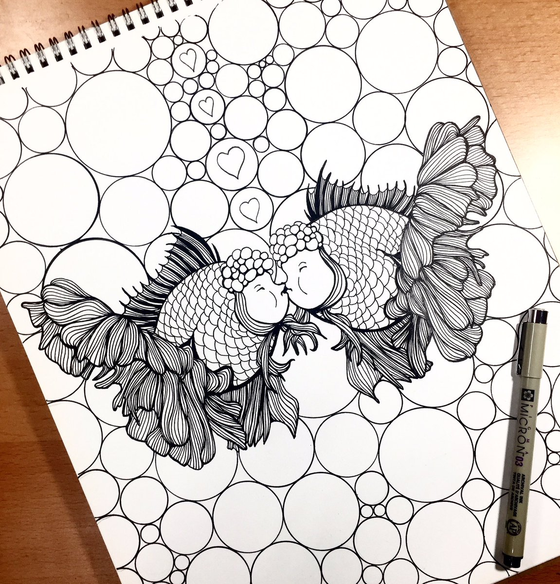 Long Tailed Kissing Fish Coloring Pages - Download & Print Online ... | 1200x1151