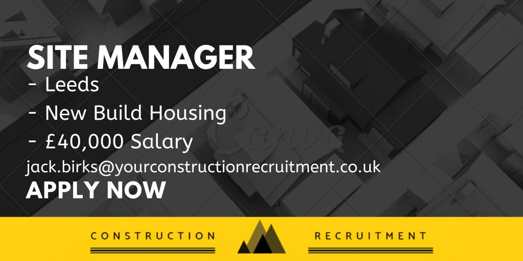YourConstruction are currently recruiting for a Site Manager in Leeds  Email Jack.birks@yourconstructionrecruitment.co.uk for more details!  #Construction #Jobs #ConstructUK #ConstructionRecruitment #SiteManagerpic.twitter.com/QANqFFm8Co