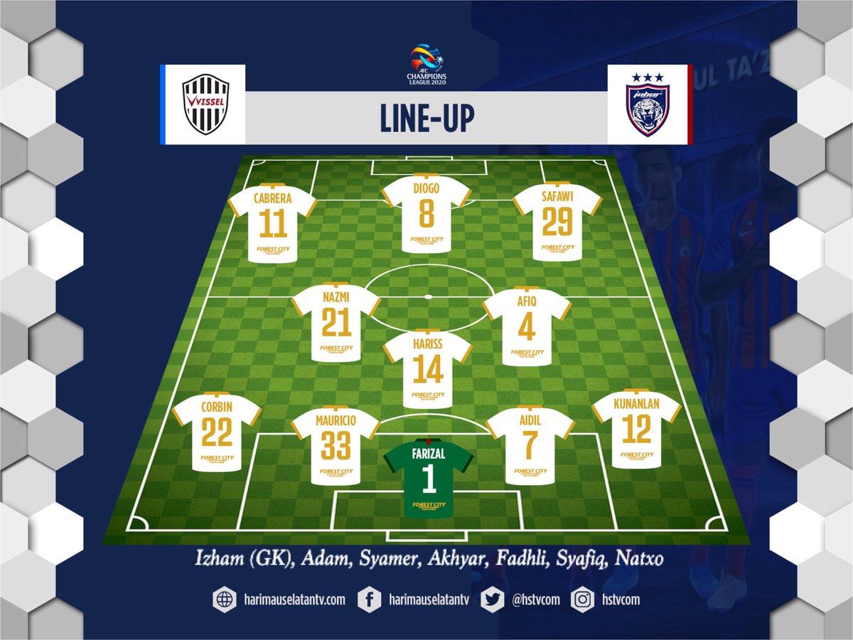 STARTING XI  Vissel Kobe vs Johor Darul Ta'zim Misaki Park Stadium, Kobe  #ACL2020 #johor #jdt #johordarultazim pic.twitter.com/aA9Fj95GR5