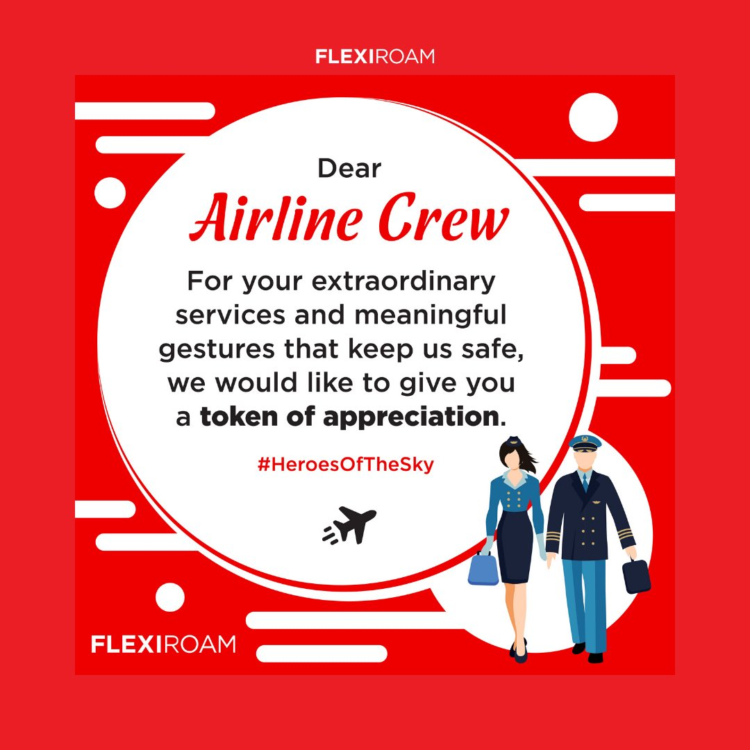 Dear Airline Crew, FLEXIROAM would like to give a token of appreciation for our beloved airline crews💌 ⠀ DM us on Instagram (@flexiroam) and get 53.1% OFF on GLOBAL DATA PLANS (1GB and above) ⠀ Thank you for your service #HeroesOfTheSky. Have a safe flight and stay healthy!✈️ https://t.co/gdYIJHHj5K