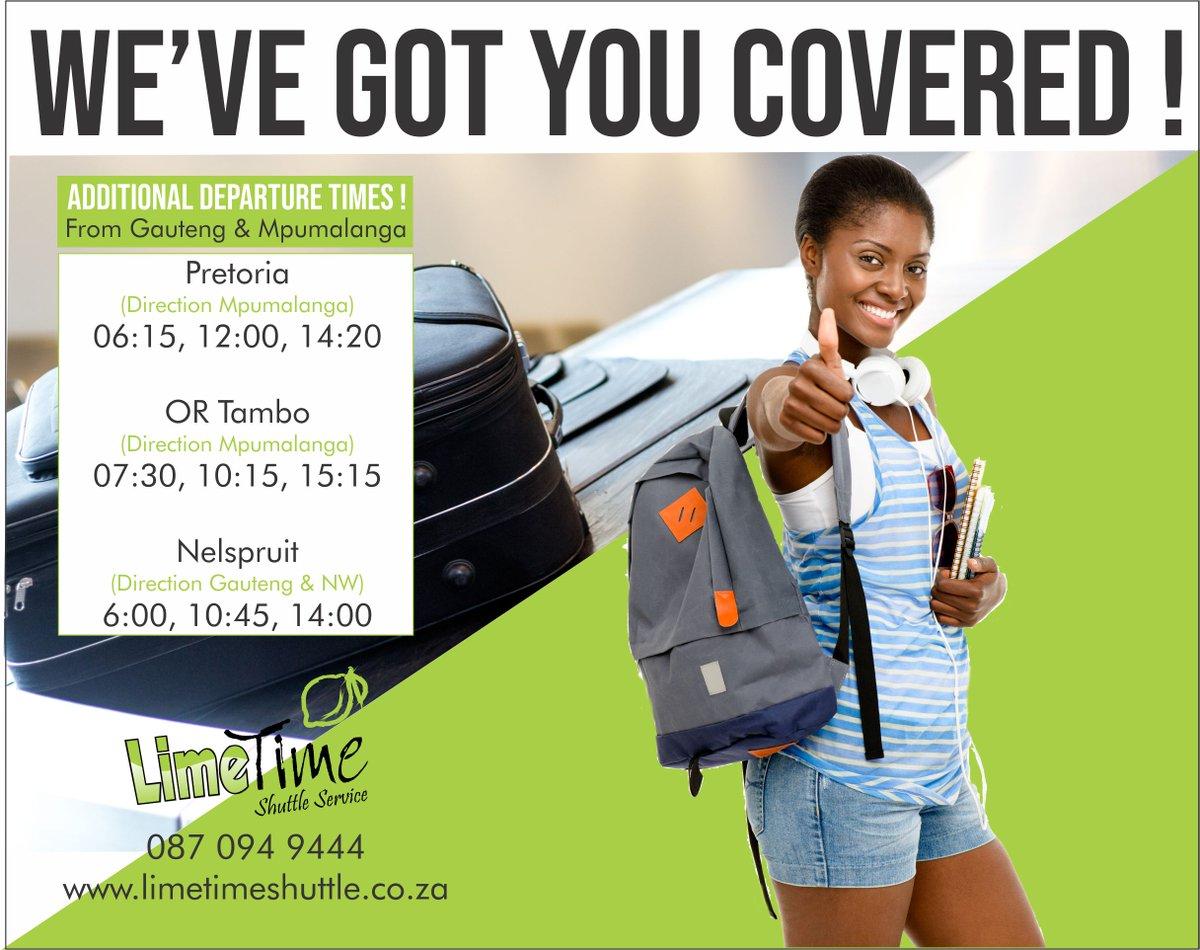 We are now departing Pretoria and OR Tambo towards Mpumalanga at 6:15 and 7:30, and towards Gauteng at 14:00, DAILY.  #limetimeshuttle #ortambo #boksburg #potch #potchefstroom #klerksdorp #carltonville #welkom #kroonstad #bloemfontein #bestdrivers #driving