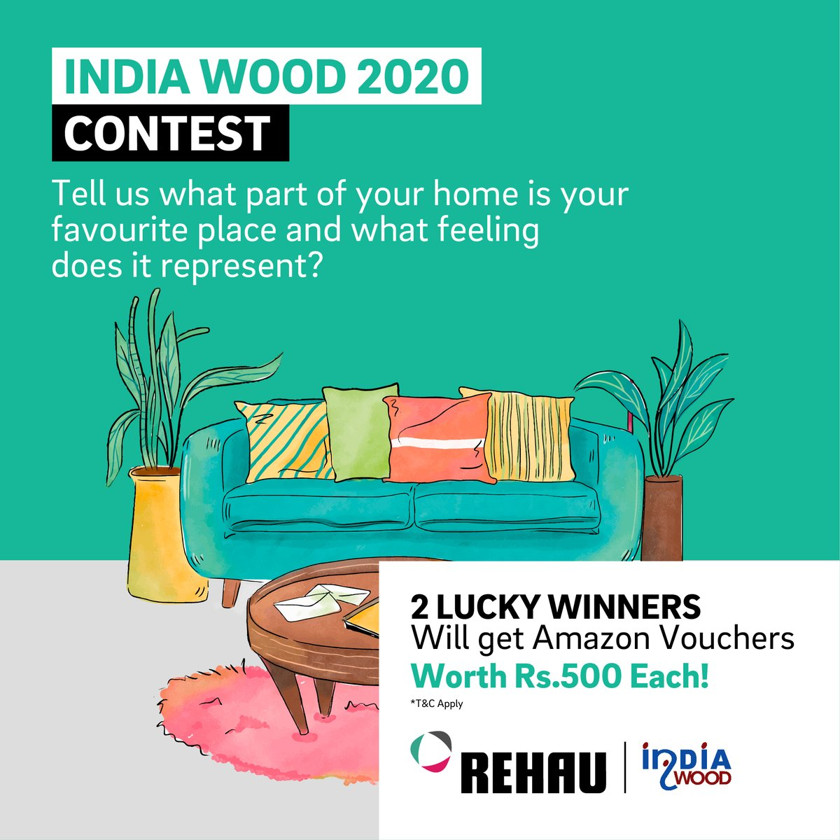 #ContestAlert Tell us what part of your home is your favourite place and what feeling does it represent? 1.Tag a friend 2. Comment the answer  2 lucky winners will get AMAZON VOUCHERS WORTH Rs.500 each!  We're coming to India Wood 2020, at Stall Number H2 B202.  #IndiaWood2020