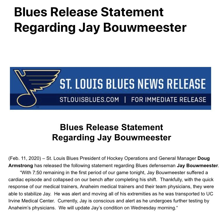 Blues update on Jay Bouwmeester, who had a cardiac episode on the bench in Anaheim last night.