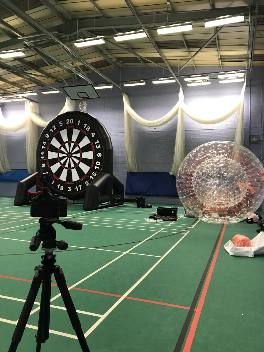 Time to get #ZORBING!! @HamsterZorb are setting up ready to film our video! @HamsterZorb 🐹