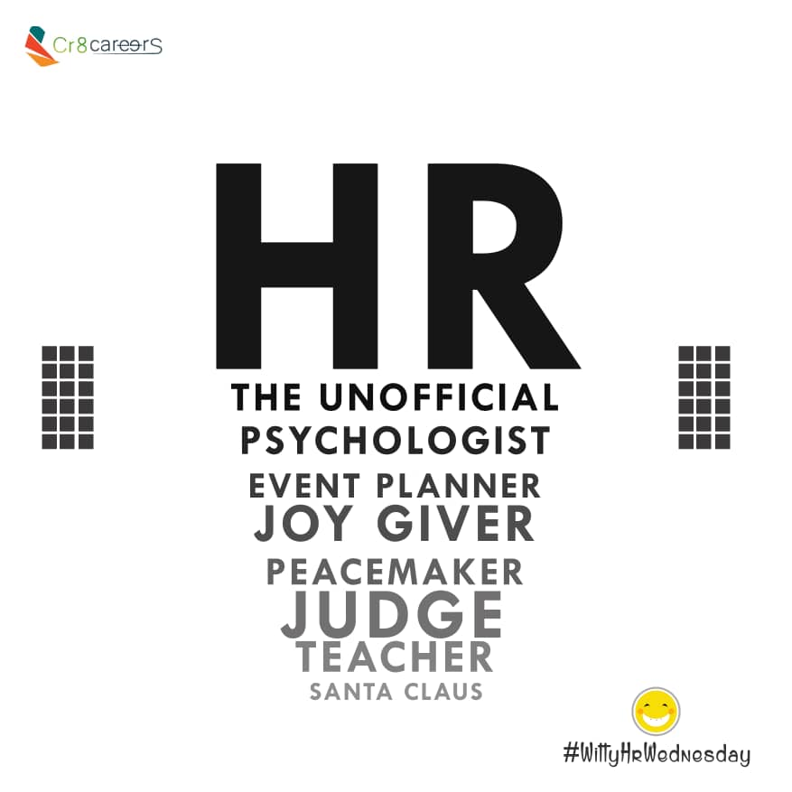 We're All In One  | #WittyWednesday . Follow Us @Cr8careers . #Recruitment #Outsourcing #Assessments #OccupationalInterests #HRNigeria #JoyGiver #Judge #CreativeBiz #Teacher #SantaClaus #PeaceMaker #wednesday #naijabrandchick #Psychologist #EventPlanner #witty #HRpic.twitter.com/aQyoJzu9vF