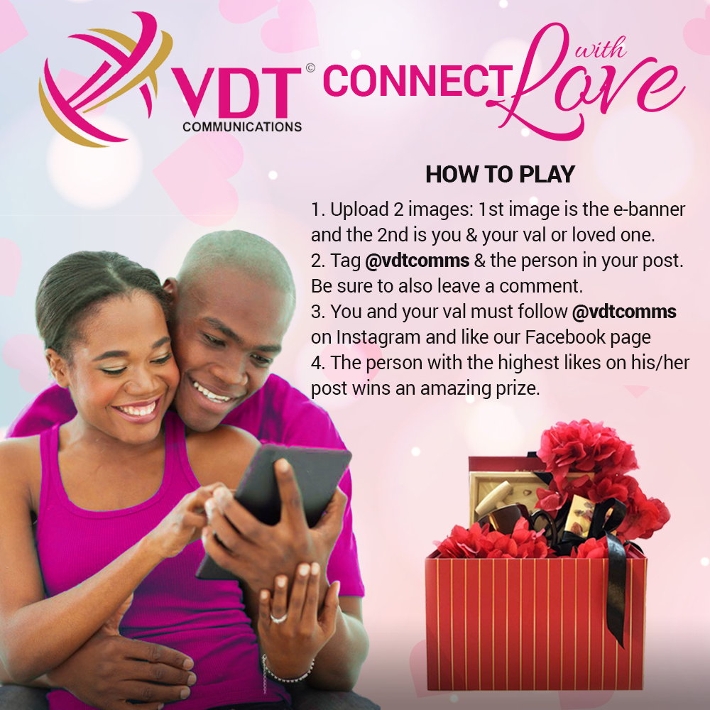 Connect with love this valentine and get boo'd up. Follow the instructions on the banner and win an amazing prize.   Watch this space to know if you won.  #connectwithlove #vdtcomms #happyVal<br>http://pic.twitter.com/EXIJspvaG4