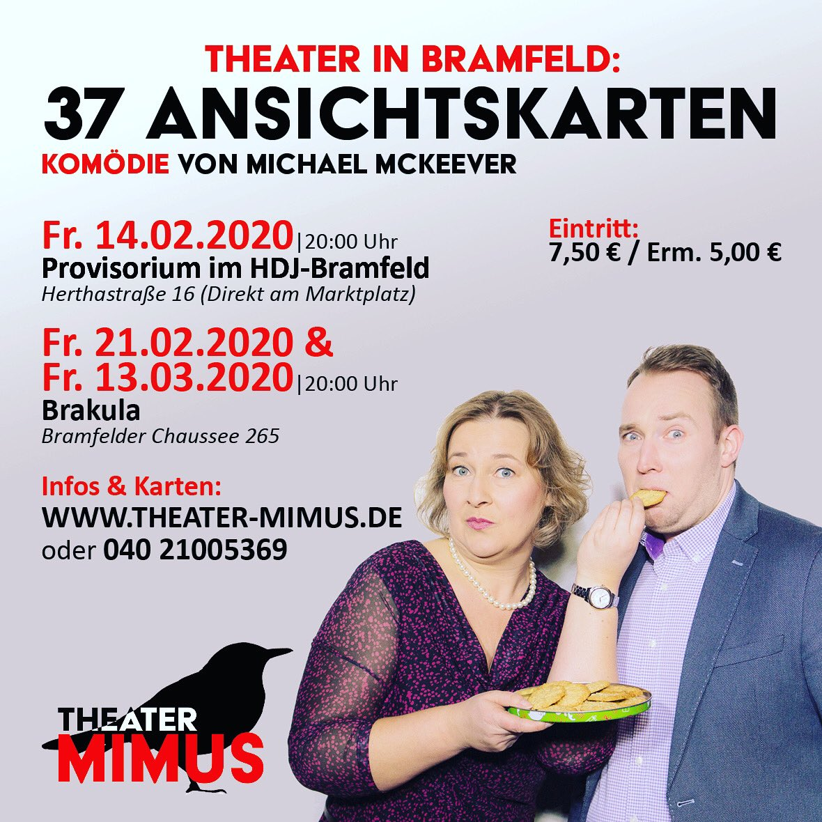 FREITAG IST #PREMIERE! Im Bramfelder Wochenblatt könnt ihr heute diese Anzeige bewundern. Und pünktlich zum Start ins Wochenende dann unser großartiges Ensemble auf der Bühne. Infos & #Karten: http://theater-mimus.de | #37ansichtskarten #komödie #theater #hamburg #bramfeldpic.twitter.com/qHhL0nbwGF