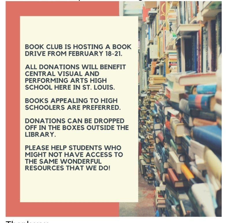 Students, check out the book drive next week sponsored by the Book Club!