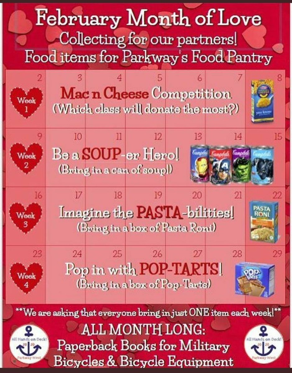 This week is SOUP-er bowl week! Everyone bring in a can of soup! Bins in the main lobby ❤ #pwestpaysback