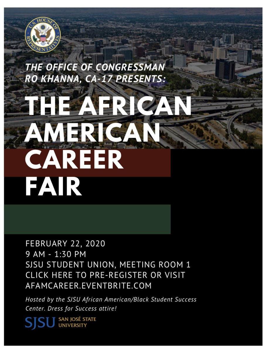 San Jose State University On Twitter Are You Interested In Working In Tech Or Pursuing A Career In Stem Come Visit The Career Fair Held By The Office Of Congressman Rokhanna On