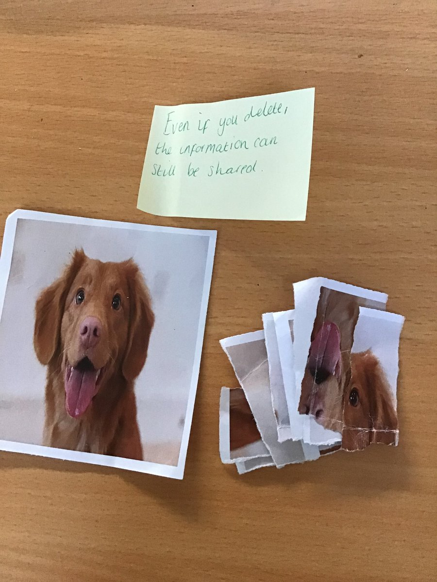 Our final activity led to a great discussion. The children were all given Mrs Blakers personal information (photo of her dog) and told to keep it safe. After Mrs Blaker decided she no longer wanted to share the photo and ripped it up (deleted it)but the photo was still available. https://t.co/IpvXUonG3R