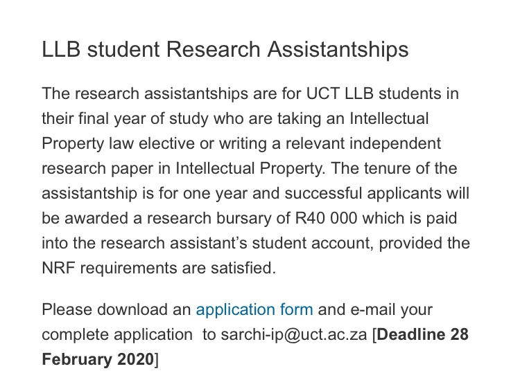 🗣 Research Assistantship Opportunity for final year @UctLaw students studying, or interested, in IP Law. Comes with an @NRF_News Bursary. Application form 👉🏽ipchair.uct.ac.za/bursariesandFe… @AfricanIP @UCT_LSC @LawLibraryUCT