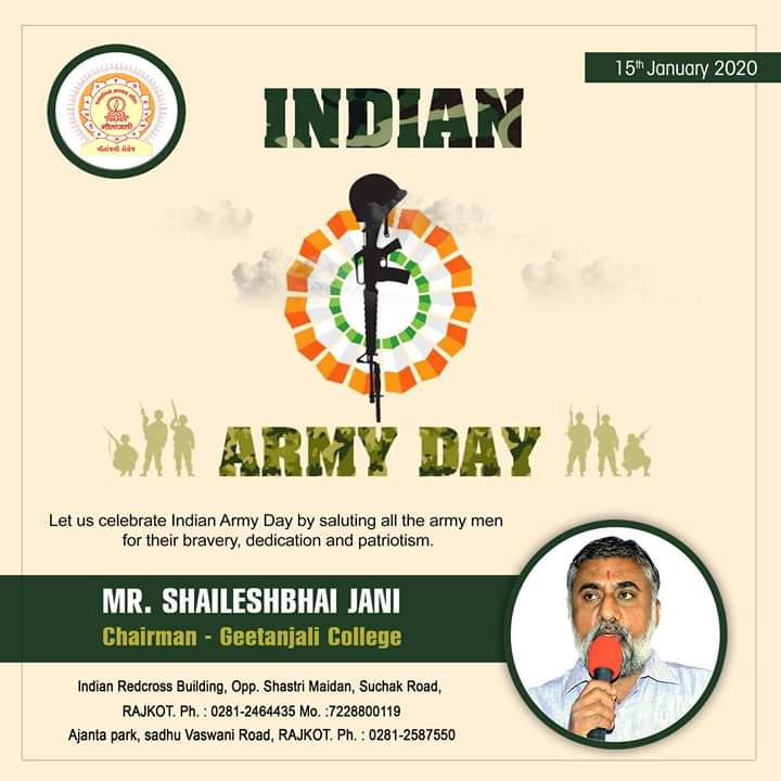 15th January 2020 - Indian Army Day !!Geetanjali Group Of Colleges #ArmyDay #IndianArmy #NationFirst #ArmyDay2020 #IndianArmyDay